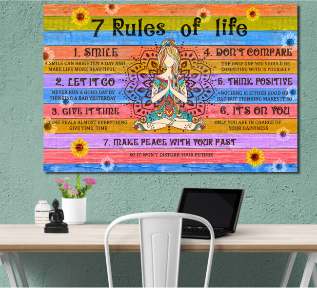 7 RULES OF LIFE Canvas art, beautiful quotes for happy life 3