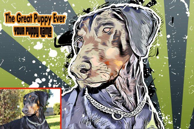 Personalized your Pet cartoon canvas art, dog cat canvas art, cartoon art pet gift 1