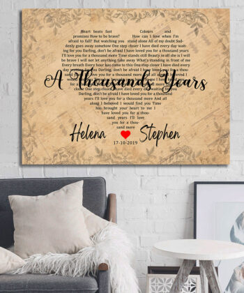 Personalized vintage Lyrics canvas art. Beautiful wedding gift for bride groom,heart shape lyrics 8