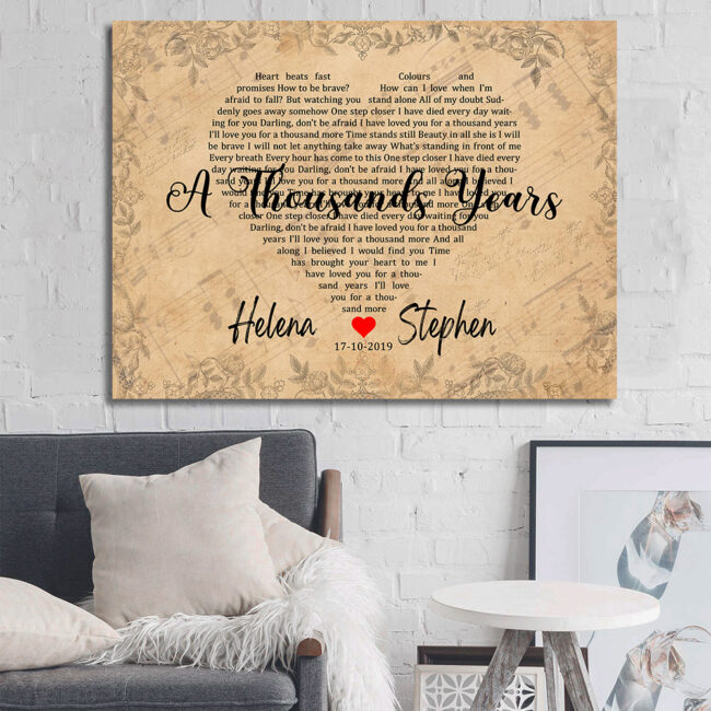 Personalized vintage Lyrics canvas art. Beautiful wedding gift for bride groom,heart shape lyrics 2