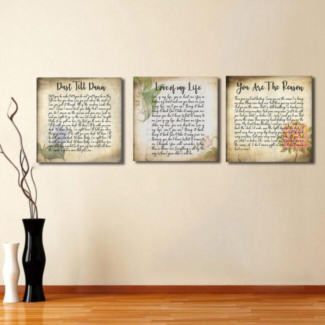 Lyrics song canvas art, 3 pieces of canvas art lyrics vintage 6