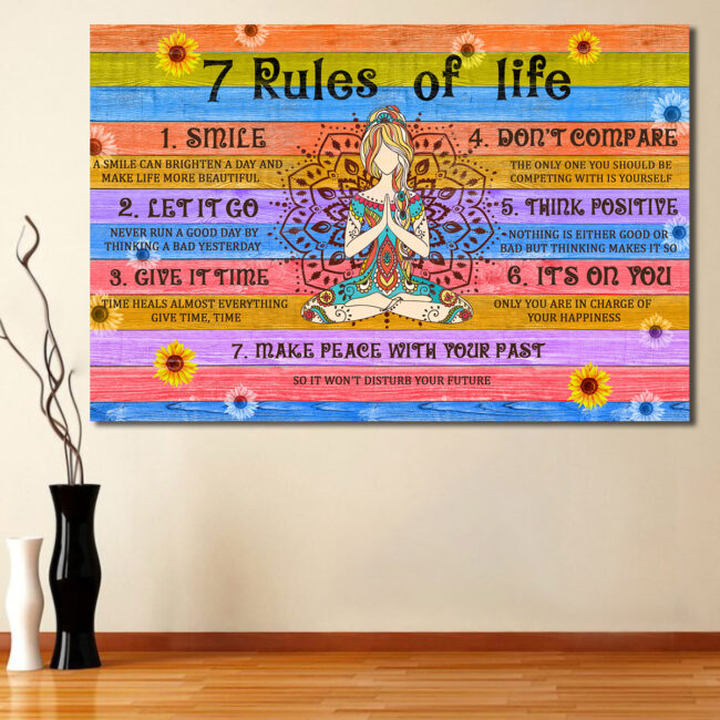 7 RULES OF LIFE Canvas art, beautiful quotes for happy life 1