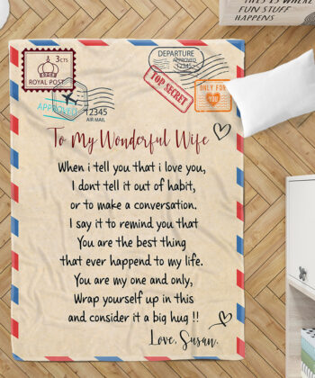 To my wonderful wife blanket, love message to my wife, personalized love gift, custom blanket 5