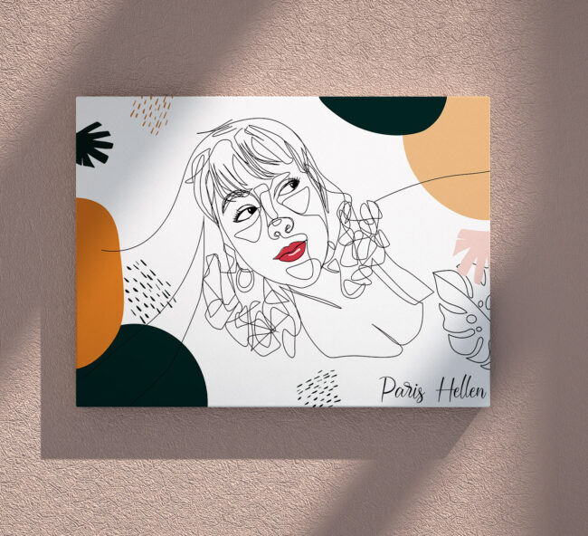 Custom line art abstract with your picture and your name, personalized portrait art 2