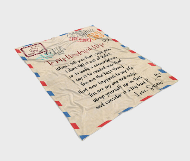 To my wonderful wife blanket, love message to my wife, personalized love gift, custom blanket 3