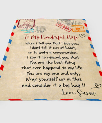 To my wonderful wife blanket, love message to my wife, personalized love gift, custom blanket 7