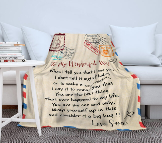 To my wonderful wife blanket, love message to my wife, personalized love gift, custom blanket 1