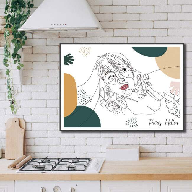 Custom line art abstract with your picture and your name, personalized portrait art 4