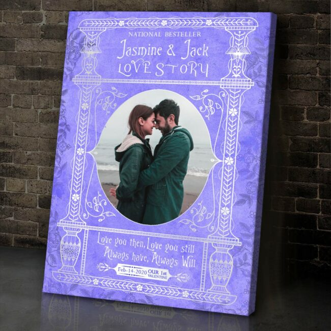 Personalized Valentine gift canvas art, 1st valentine gift anniversary, engaged gift, marriage gift book cover style 3