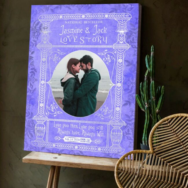 Personalized Valentine gift canvas art, 1st valentine gift anniversary, engaged gift, marriage gift book cover style 4