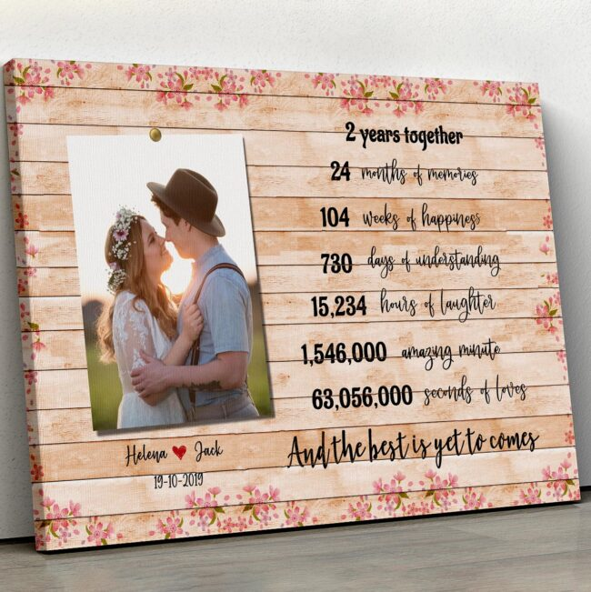 Anniversary canvas art, 2 years anniversary gifts for her, for him, for husband, for wife 1