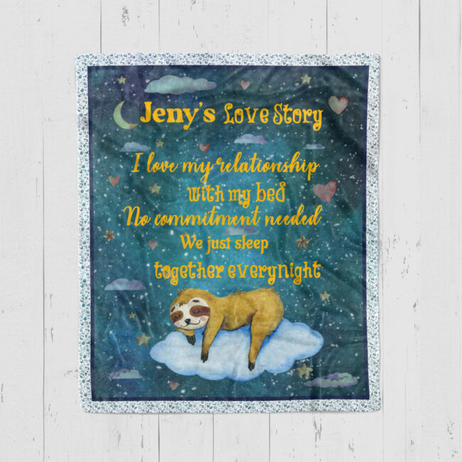 Personalized Valentine gift funny sloth blanket for her, for daughter for besties... 2