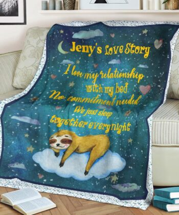 Personalized Valentine gift funny sloth blanket for her, for daughter for besties... 8