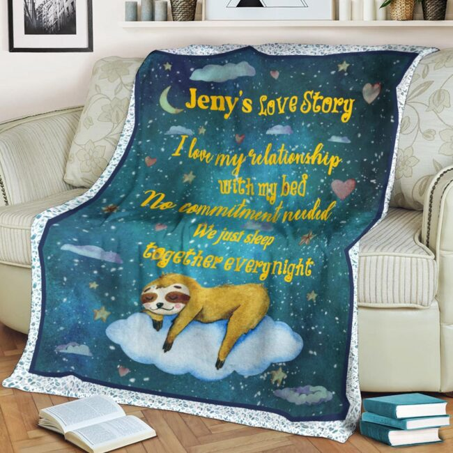 Personalized Valentine gift funny sloth blanket for her, for daughter for besties... 4