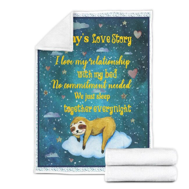 Personalized Valentine gift funny sloth blanket for her, for daughter for besties... 5