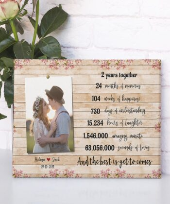 Anniversary canvas art, 2 years anniversary gifts for her, for him, for husband, for wife 7
