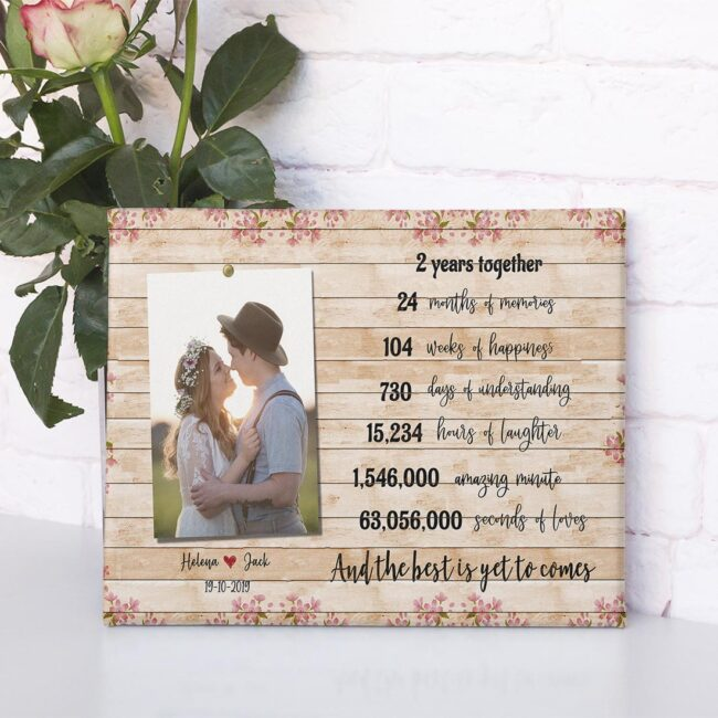 Anniversary canvas art, 2 years anniversary gifts for her, for him, for husband, for wife 2
