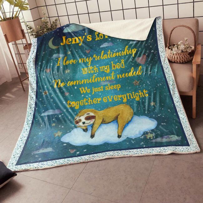 Personalized Valentine gift funny sloth blanket for her, for daughter for besties... 1