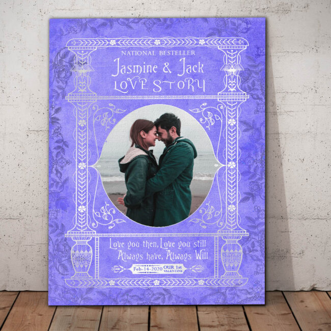 Personalized Valentine gift canvas art, 1st valentine gift anniversary, engaged gift, marriage gift book cover style 1