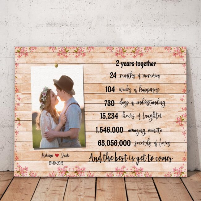 Anniversary canvas art, 2 years anniversary gifts for her, for him, for husband, for wife 4