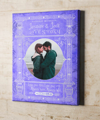 Personalized Valentine gift canvas art, 1st valentine gift anniversary, engaged gift, marriage gift book cover style 12