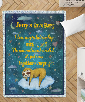 Personalized Valentine gift funny sloth blanket for her, for daughter for besties... 7