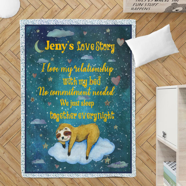 Personalized Valentine gift funny sloth blanket for her, for daughter for besties... 3