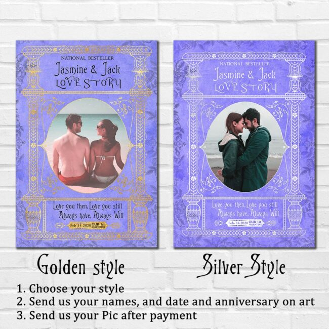Personalized Valentine gift canvas art, 1st valentine gift anniversary, engaged gift, marriage gift book cover style 8