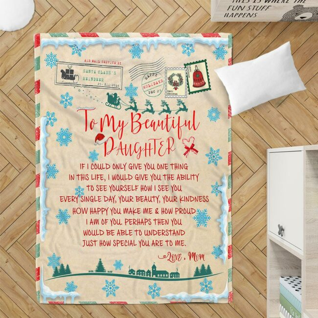 To my daughter Christmas blanket, for daughter fleece blanket from mom gift 1