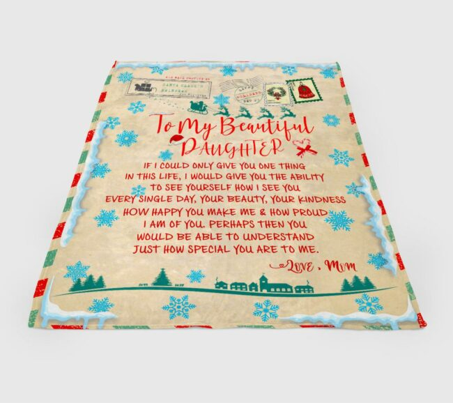 To my daughter Christmas blanket, for daughter fleece blanket from mom gift 2