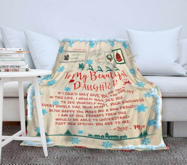 To my daughter Christmas blanket, for daughter fleece blanket from mom gift 5