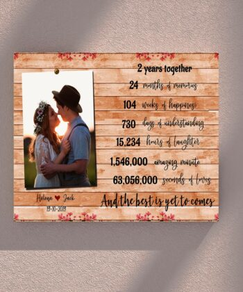 Anniversary canvas art, 2 years anniversary gifts for her, for him, for husband, for wife 8