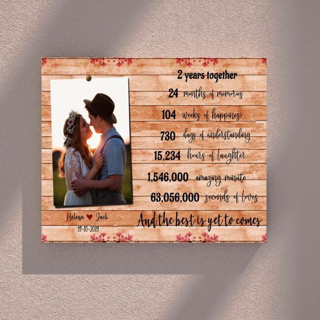 Anniversary canvas art, 2 years anniversary gifts for her, for him, for husband, for wife 3