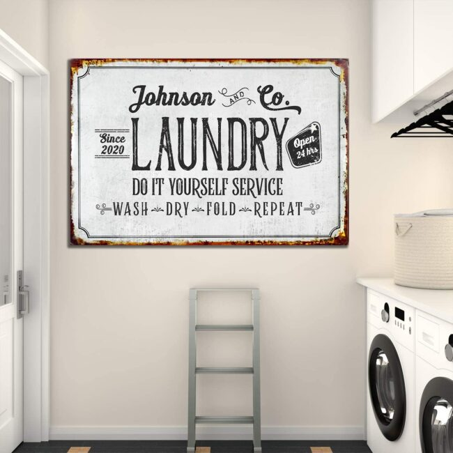Personalized laundry room canvas art, Do it yourself service laundry room canvas 3