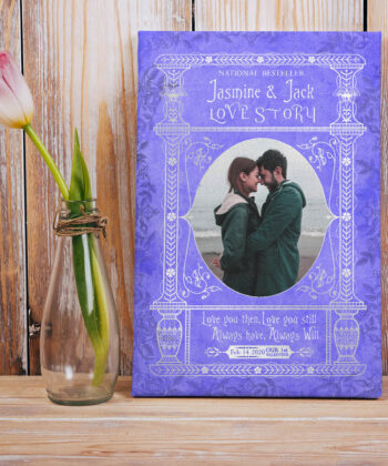 Personalized Valentine gift canvas art, 1st valentine gift anniversary, engaged gift, marriage gift book cover style 14