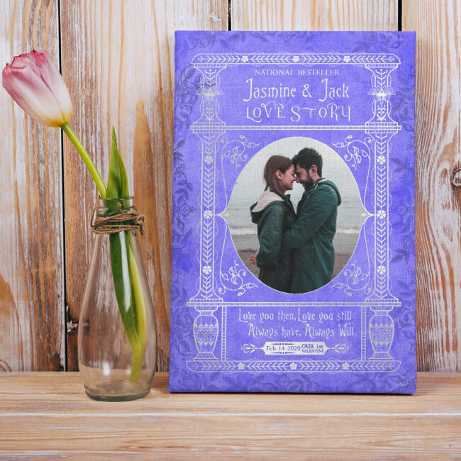 Personalized Valentine gift canvas art, 1st valentine gift anniversary, engaged gift, marriage gift book cover style 7