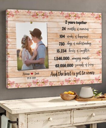 Anniversary canvas art, 2 years anniversary gifts for her, for him, for husband, for wife 10