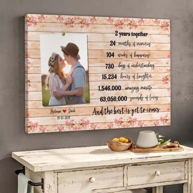 Anniversary canvas art, 2 years anniversary gifts for her, for him, for husband, for wife 5