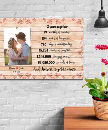 Anniversary canvas art, 2 years anniversary gifts for her, for him, for husband, for wife 11