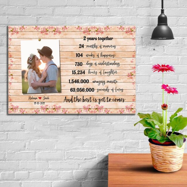 Anniversary canvas art, 2 years anniversary gifts for her, for him, for husband, for wife 6