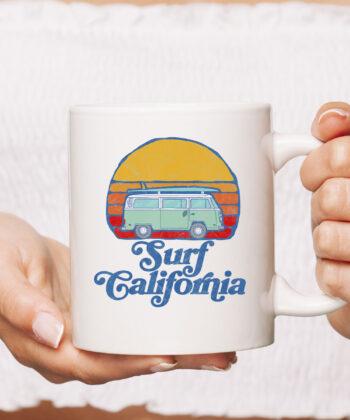 Retro California Hippie Van Groovy Beach Bum Surfer Graphic Mug 4