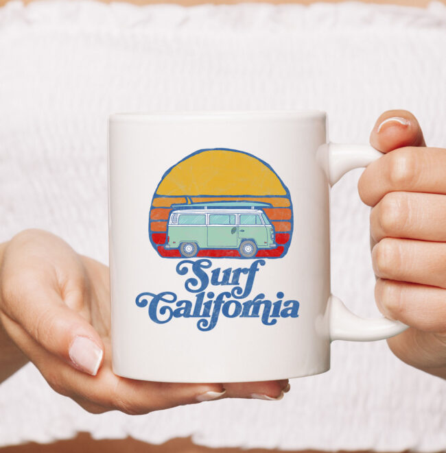 Retro California Hippie Van Groovy Beach Bum Surfer Graphic Mug 2