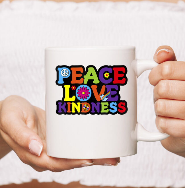 HIPPIE mug PEACE LOVE KINDNESS Tie Dye Halloween Mug 1
