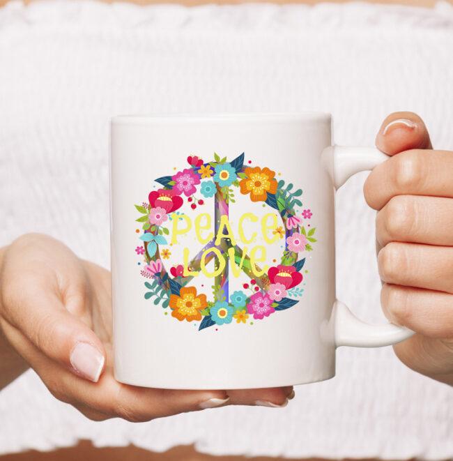 Peace Love mug Hippie Mug Tie Die 60s 70s 1