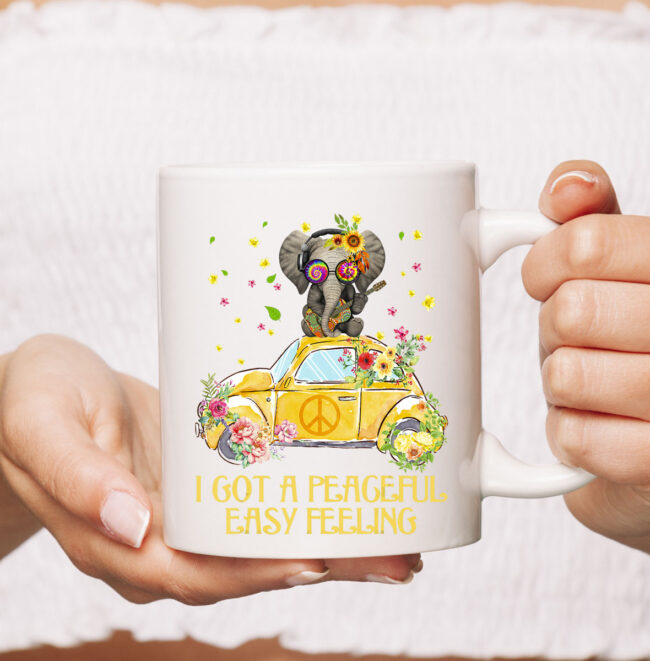 I Got A Peaceful Easy Feeling Funny Elephant Hippie Mug 2