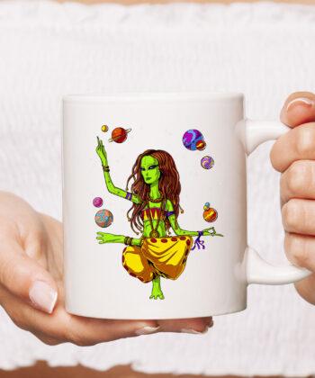 Space Alien Hippie Yoga Zen Meditation Psychedelic Women Mug 4