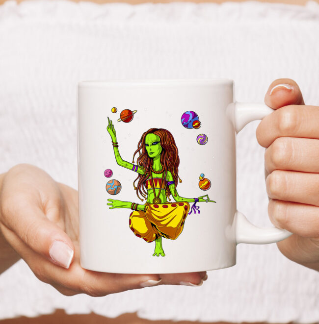Space Alien Hippie Yoga Zen Meditation Psychedelic Women Mug 2