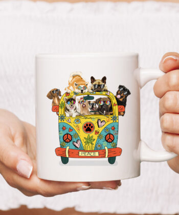 Funny Peace Love Dogs Hippie Van CoffeeMugs Summer Gifts Mug 4