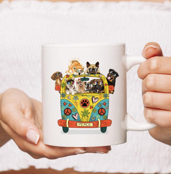 Funny Peace Love Dogs Hippie Van CoffeeMugs Summer Gifts Mug 2