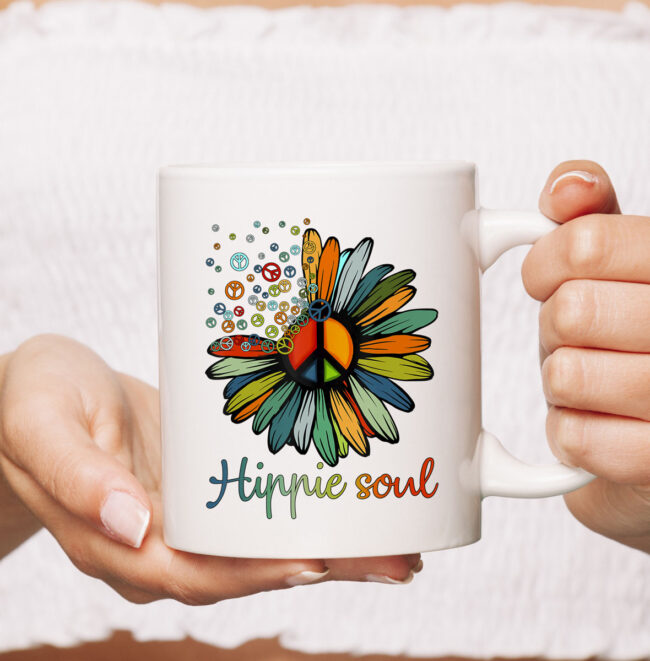 Daisy Peace Sign Hippie Soul TCoffeeMug Flower Lovers Gifts Mug 2